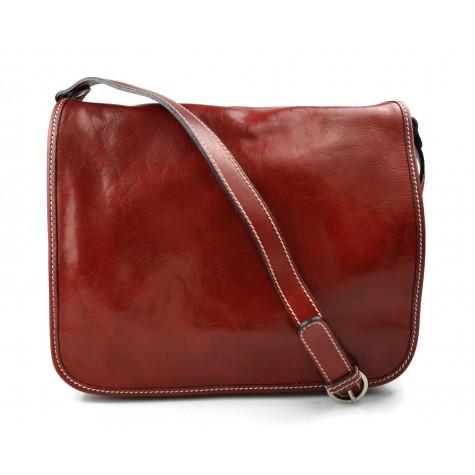 Leather messenger bag men's leather bag red shoulder bag