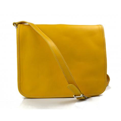 Leather messenger bag men's leather bag yellow shoulder bag