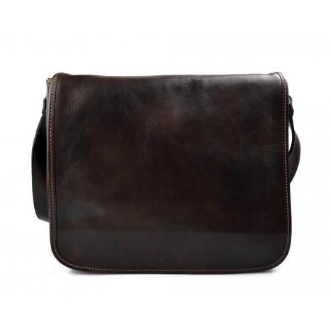 Leather messenger bag men's leather bag dark brown shoulder bag
