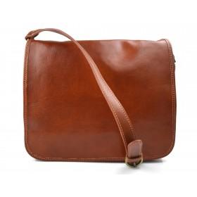 Leather messenger bag mens leather bag honey shoulder bag