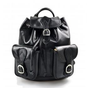 Sac à dos en cuir italien sac à dos en cuir homme femme noir sac à bandoulière