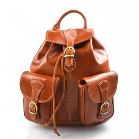 Sac à dos en cuir italien sac à dos en cuir homme femme miel sac à bandoulière