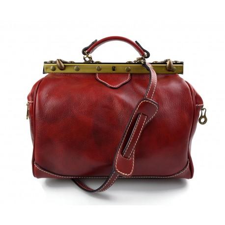 Ladies leather handbag doctor bag handheld shoulder bag red made in Italy genuine leather bag