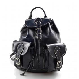 Sac à dos en cuir italien sac à dos en cuir homme femme bleu sac à bandoulière