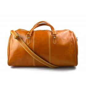 Mens leather duffle bag yellow shoulder bag travel bag luggage weekender carryon cabin bag