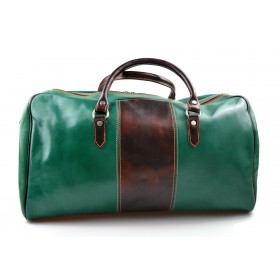 Mens leather duffle bag green brown shoulder bag travel bag luggage weekender carryon cabin bag