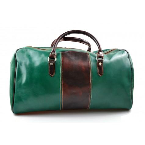 Mens leather duffle bag green brown shoulder bag travel bag luggage weekender carryon cabin bag