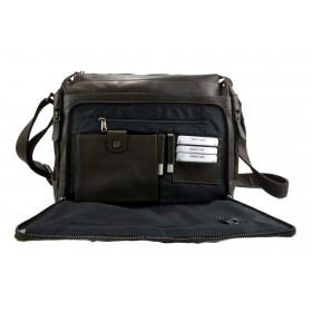 Leather satchel mens messenger ladies handbag ipad tablet leather bag black
