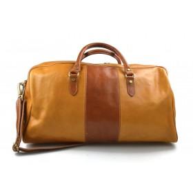 Travel bag leather duffle bag leather duffel bag yellow - honey for men women travel bag luggage weekender bag