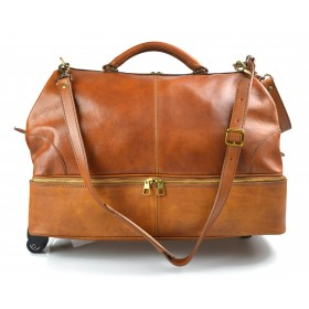 Leather trolley travel bag doctor bag weekender with wheels overnight honey