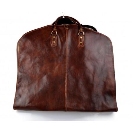 Porta abiti in pelle borsa da viaggio porta indumenti marrone