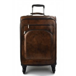 Trolley rigido bolsa de viaje de cuero marron oscuro