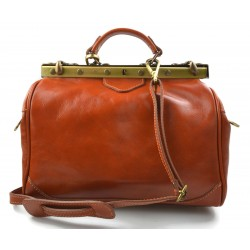 Ladies leather handbag doctor bag handheld shoulder bag honey made in Italy genuine leather bag