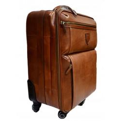 Borsone in pelle borsa viaggio pelle marrone con ruote e manico