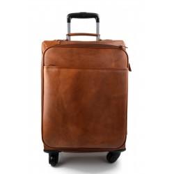 Trolley voyage en cuir sac voyage de bagages a main brun