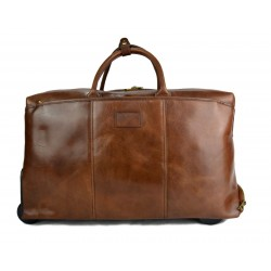 Brown leather duffle trolley travel bag weekender overnight
