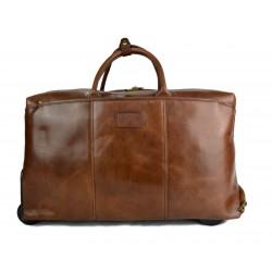 Sac voyage trolley brun voyage en cuir sac bagages a main en cuir