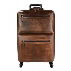Bolso de viaje maleta equipaje de cuero trolley cuero marron oscuro bolso con ruedas y manejar bolsa equipaje