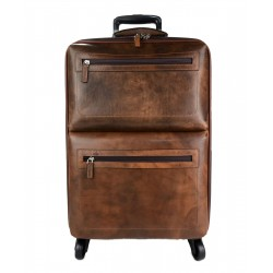 Leather suitcase travel bag with wheels dark brown leather cabin luggage airplane carryon brown leather bag