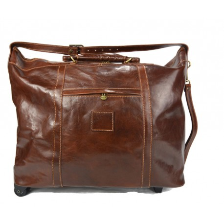 Leather trolley travel bag brown leather duffle weekender overnight leather bag
