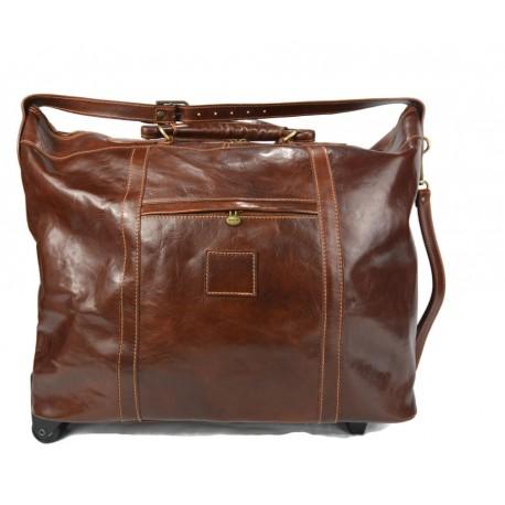Sac voyage trolley marron voyage en cuir sac bagages a main en cuir carryon