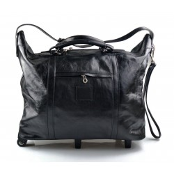 Leather trolley travel bag black leather duffle weekender overnight leather bag