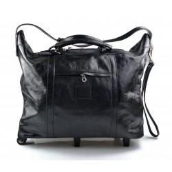 Leder reisetasche troller reisetasche herren damen mit griff leder schwarz weekend tasche