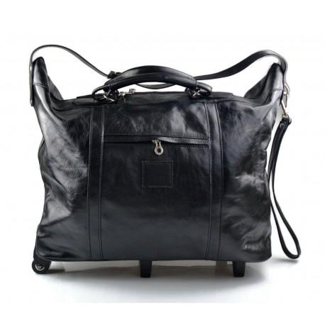 Sac voyage trolley noir voyage en cuir sac bagages a main en cuir carryon