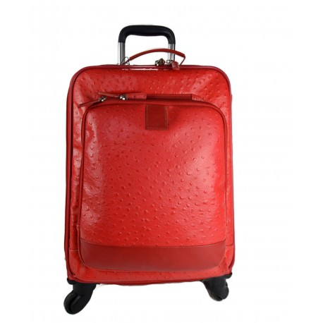 Leather trolley red travel bag weekender overnight leather bag with 4 wheels leather cabin luggage airplane bag