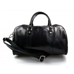 Leather duffle bag genuine leather travel bag overnight black
