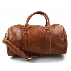 Leather duffle bag genuine leather travel bag overnight plain brown