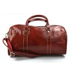 Sac de voyage en cuir homme femme bandoulière en cuir rouge