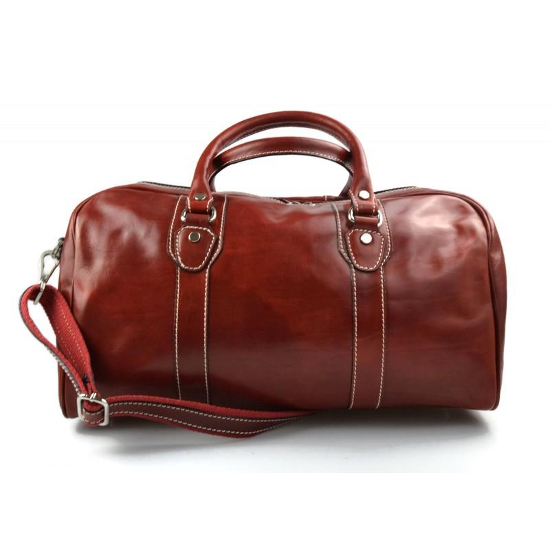 Dettagli su Borsone pelle rosso uomo donna borsa viaggio con manici e tracolla vera pelle