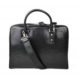Leather shoulder bag leather messenger bag ipad laptop black
