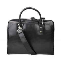 Sac cuir à bandoulière noir en cuir sac notebook tablet ipad