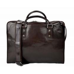 Leather shoulder bag leather messenger bag ipad laptop dark brown