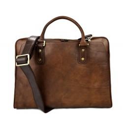 Leather shoulder bag leather messenger bag ipad laptop brown
