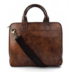 Carpeta de cuero messenger bolso hombre bolso mujer piel porta tableta marron oscuro