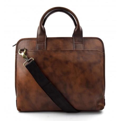 Vintage leather dark brown shoulder bag carry on bag messenger satchel ipad tablet