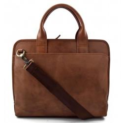 Carpeta de cuero messenger bolso hombre bolso mujer piel porta tableta marron