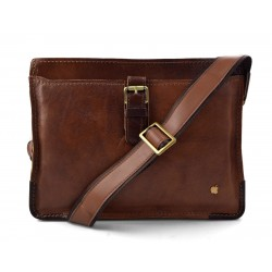 Borsello porta tablet messenger in pelle uomo donna con tracolla a spalla marrone