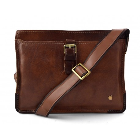 Leather satchel mens leather messenger ladies handbag shoulderbag ipad tablet holder leather bag brown