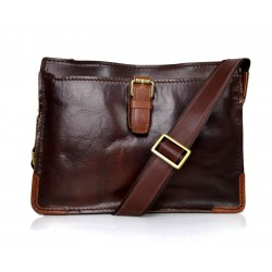 Leather satchel mens leather messenger ladies handbag shoulderbag ipad tablet holder leather bag dark brown