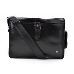 Bolso para tableta de cuero bolso messenger de piel bolso de hombre bolso de mujer piel marron oscuro