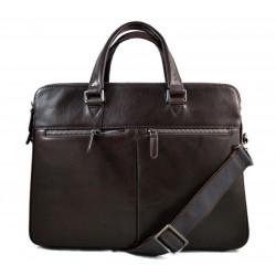 Leather satchel dark brown messenger men ladies bag handbag