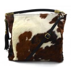 Cowhide pony fur tote bag pony fur hair bag natural fur animal print brown white cow fur shoulderbag leather handbag cow