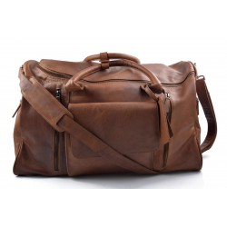Travel bag leather travel duffle bag XXL big leather carry on hand held travel shoulder bag leather gym bag brown duffel