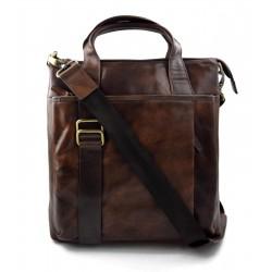 Bandoulière en cuir homme messenger sac d'épaule traverser sac postier marron fonce