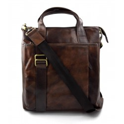 Leather shoulder bag satchel mens ipad bag handbag dark brown luxury bag