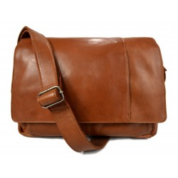Genuine italian leather shoulderbag notebook messenger bag ipad laptop ladies men honey